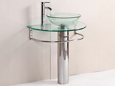 modern Bathroom vanities pedestal vessel glass furniture sink w bath faucet