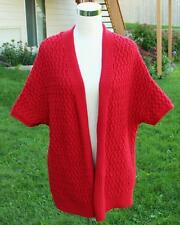 Red Cardigan Sweater Size XL Coldwater Creek Open Loose Knit Slouchy LN