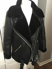 Zara Faux Fur Collar Aviator Biker With Fur Lining Size L Uk 12 Genuine Zara