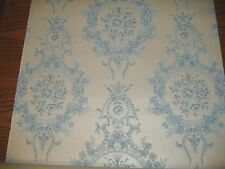 Vintage Roll 1950's Damask Baby Blue off White Wallpaper Wall Paper Shabby Chic