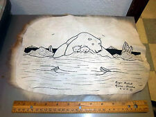 Rabbit Fur Artwork by Nome Alaska Artist Roger Walluk 9x12 pen & ink polar bear