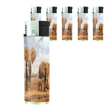 Set of 5 Lighters Refillable Electronic Elephant Design-008 Wildlife Animal Zoo