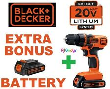 BLACK & DECKER 20V LITHIUM COMPACT CORDLESS DRILL W/ 2 Li-iON BATTERIES & CHARGE