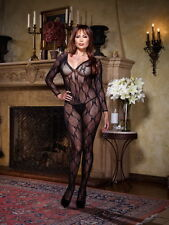 Sexy Lace Open Crotch Long Sleeved Bodystocking Lingerie Women Plus Size 0019X