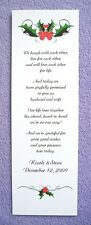 100 Personalized Custom Winter Christmas Holly Bridal Wedding Bookmarks Favors