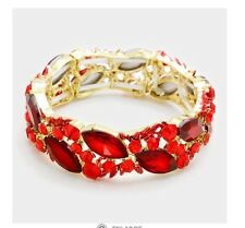 Red Gold Stretch Stretchable Cuff Crystal Rhinestone Wedding Pageant Bracelet