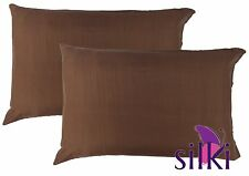 1 PAIR of 100% Mulberry Silk Pillow Cases / slips / cover - STANDARD - BROWN