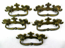"""Vintage Drawer Pulls Lot of 5 VIntage Solid Brass Early American #3897 4.5""""long"""