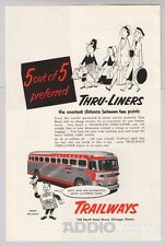 Trailways Bus Travel '50s Thru-Liners Thanksgiving 2-Color Print Ad Vtg 1953