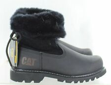 Caterpillar Womens Bruiser Engineer Boot Black Fur Leather Size 8 M US
