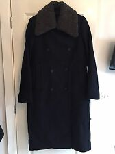 BNWT All Saints Ink Wool Sheepskin Collar ESTE Coat UK 6 RRP £398 Current Season