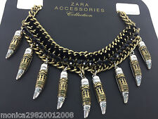 ZARA AUTHENTIC BLACK GOLD ROPE  CHAIN AND CORD TRIBAL NECKLACE