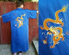 VTG 60s Chinese Silk robe Golden Dragon hand embroidered blue silk kimono gown