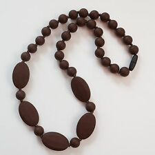 Brown Oval&Round Silicone Teething Breastfeeding Necklace Chewable Beads 3215
