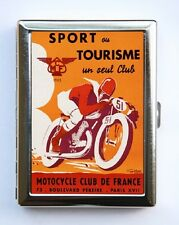 French Motorcycle Race Poster Cigarette Case Wallet Business Card Holder