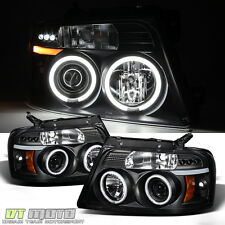 Black 04-08 Ford F150 CCFL Dual Halo LED Projector Headlights Lights Left+Right