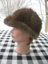 "#W13 MEN WOMEN PETITE CALOTTE MUSKRAT BROWN FUR HAT 22"" INCHES"