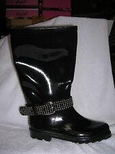 Bumper Rain/Snow Rubber Boots Shiny Black w/ Ankle Studded Belt Print Size 9