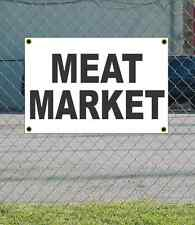 2x3 MEAT MARKET Black & White Banner Sign NEW Discount Size & Price FREE SHIP