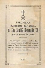 7 Preghiera Sua Santità Benedetto XV per la pace 1915 Santino Holycard