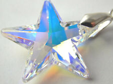 FREE GIFT BOX W/Swarovski Elements Necklace Pendant Crystal Star Clear AB Silver