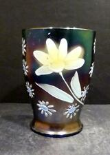 Northwood Carnival Enameled Daisy and Little Flowers Blue Tumbler-HARD TO FIND
