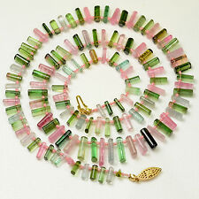 Pink Green Blue Smooth Tourmaline Crystal Beads 25 inch necklace with clasp