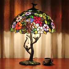 "16"" Vintage Luxury Flower Trees Tiffany Table Lamps w/ Stained Glass Lamp Shade"