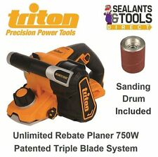 Triton Professional Rebate Plane Planer 750 Watt Inc Sanding Drum Electric Wood