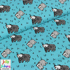 Printed Stretch Jersey Knit Fabric- Bears in Turquoise - 95%Cotton 5%Lycra Metre