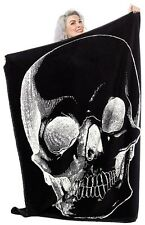 Sourpuss Anatomical Skull Blanket NEW Black Soft Fleece Horror Punk Rock Creepy