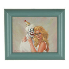 """Clowns Love Pretty Girls"" By Anthony Sidoni 1999 Signed Oil Painting 11""x13"""