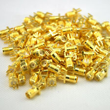 100Pcs Gold SMA female jack solder PCB #U clip edge mount RF adapter connector