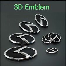 (Fits: HYUNDAI Veloster) K logo 3D Emblem 7pc SET(Front+Rear+​Steering+WheelCap)