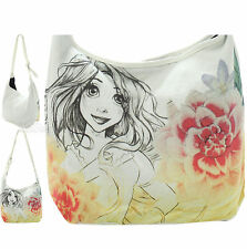 NEW Disney Tangled Rapunzel SKETCH Flowers Crossbody Hobo Bag Beach Tote Purse