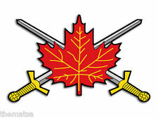"CANADA CANADIAN ARMY MAPLE LEAF BADGE SWORD 5"" USA MADE STICKER DECAL"