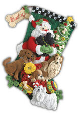 "Bucilla 18"" Christmas Felt Stocking Kit ""Santa Paws""  Dogs Bead, Sequin, Felt"