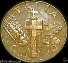 Kingdom of Italy - World War 2 Coin - Italian 1938R 10 Centesimi Coin