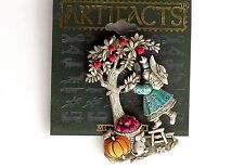 Girl Picking Apple Dog Pumpkin Dog Pewter Made USA Jonette Jewelry JJ Pin
