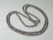 Sterling Silver & Grey (Gray) Cultured Pearl 2 Strand Necklace 3mm Pearls