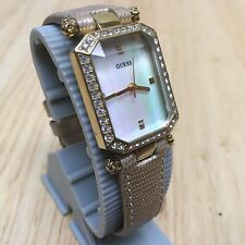 GUESS Lady Gold Tone Prism Crystal Rhinestone Analog Quartz Watch Hour~New Batte