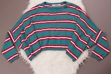 Joyrich striped green red draped oversized sweater cropped jumper womens small