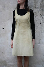 Martin Eden Women Vintage 80s Beige Leather Dress Top Casuals Sleeveless 44 L
