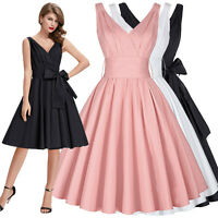 Ladies 50s Solid Pinup Swing Retro Vintage PARTY Dress Cocktail Evening Picnic