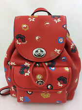 New Coach F37738 Mini Turnlock Rucksack Backpack Purse Floral Print Leather