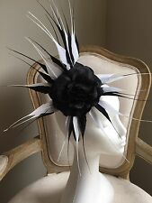 Stunning Black And White Feathered Fascinator With 2 Black Flowers On A Headband