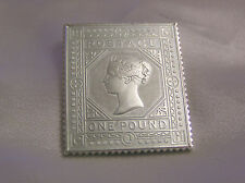 SOLID SILVER STAMP INGOT THE £1 BROWN LILAC 1878