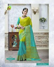 Designer Sari Indian Saree FabricJecord Tusser Silk Cotten Partywear Sari Blouse