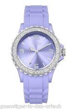 FIRETTI Armbanduhr Damenuhr Uhr mit funkelnden Glassteinen lila NEU