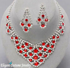 Ruby Red Crystal Necklace Set Elegant Bridesmaid Formal Prom Pageant Jewelry